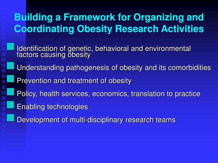 Building a Framework for Organizing and Coordinating Obesity Research Activities