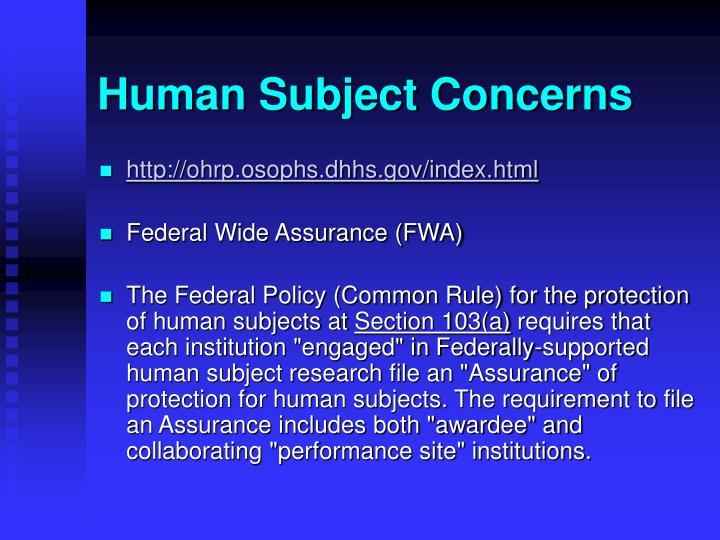 Human Subject Concerns