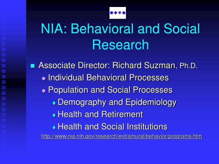 NIA: Behavioral and Social Research