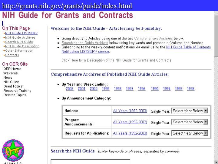 http://grants.nih.gov/grants/guide/index.html