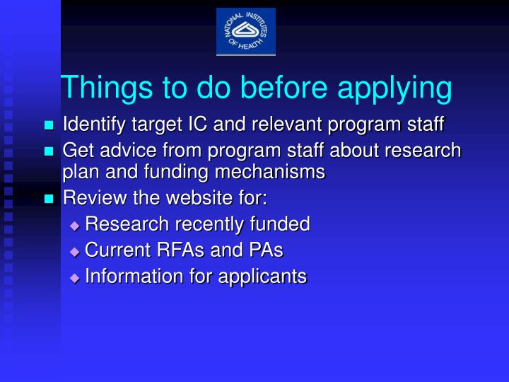 Things to do before applying