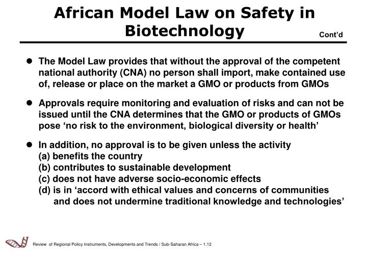African Model Law on Safety in Biotechnology