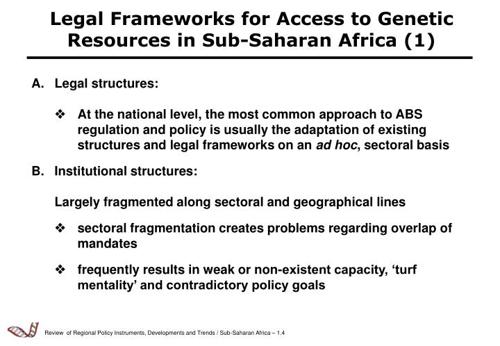 Legal Frameworks for Access to Genetic Resources in Sub-Saharan Africa (1)