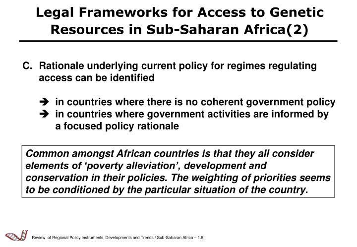 Legal Frameworks for Access to Genetic Resources in Sub-Saharan Africa(2)
