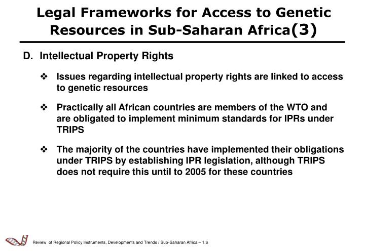Legal Frameworks for Access to Genetic Resources in Sub-Saharan Africa