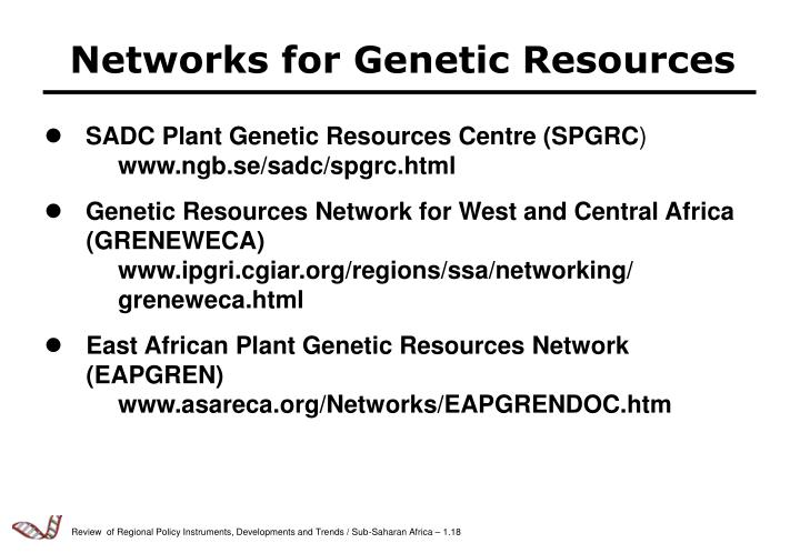 Networks for Genetic Resources
