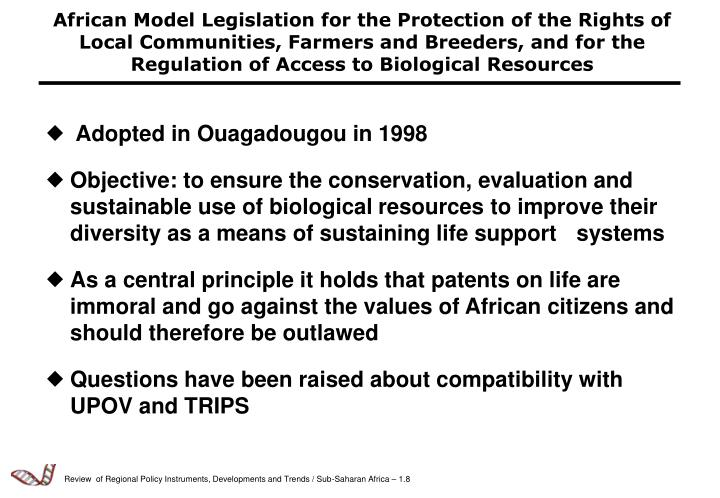 African Model Legislation for the Protection of the Rights of Local Communities, Farmers and Breeders, and for the Regulation of Access to Biological Resources