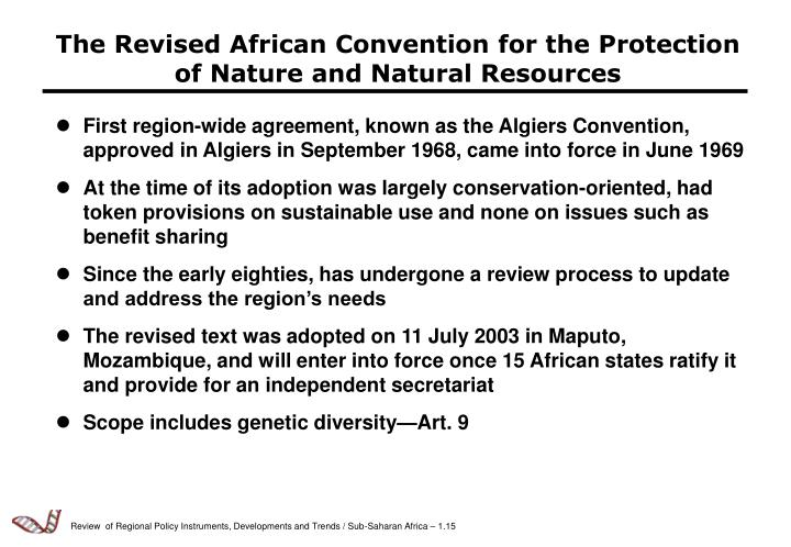 The Revised African Convention for the Protection of Nature and Natural Resources