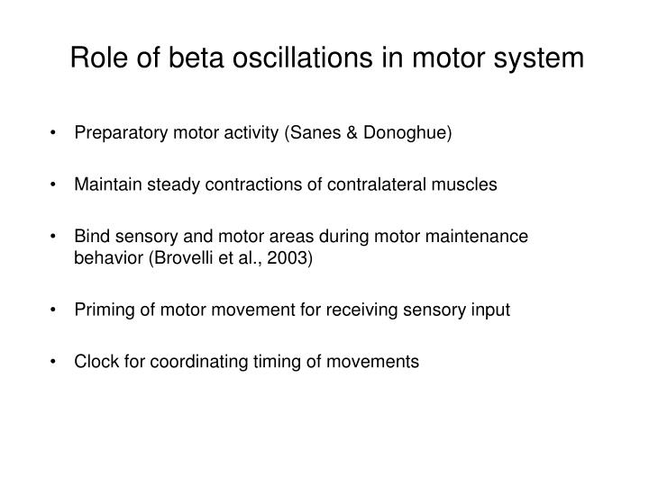 Role of beta oscillations in motor system