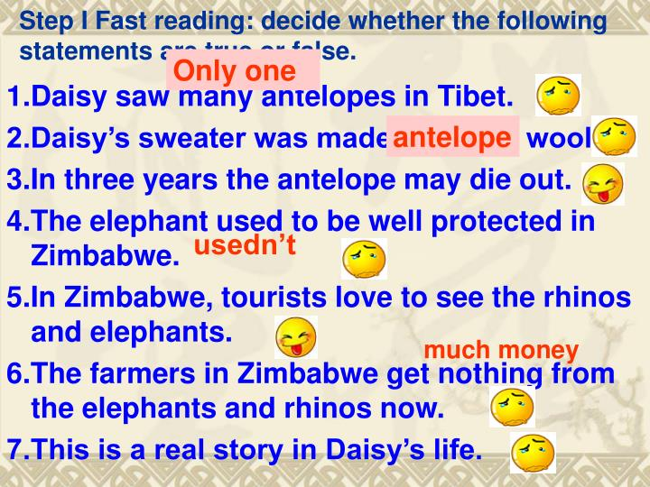 Step I Fast reading: decide whether the following statements are true or false.
