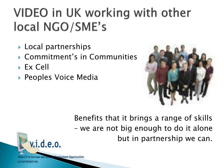 VIDEO in UK working with other local NGO/SME's
