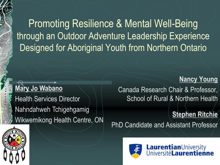 Promoting Resilience & Mental Well-Being