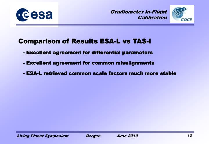 Comparison of Results ESA-L vs TAS-I