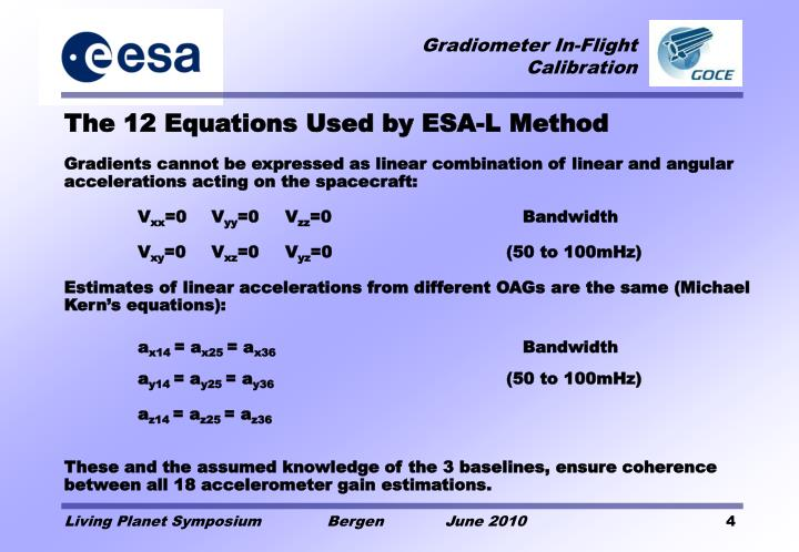 The 12 Equations Used by ESA-L Method