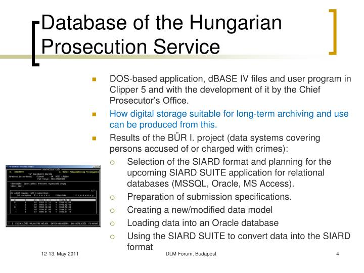 Database of the Hungarian Prosecution Service