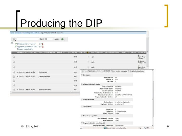 Producing the DIP