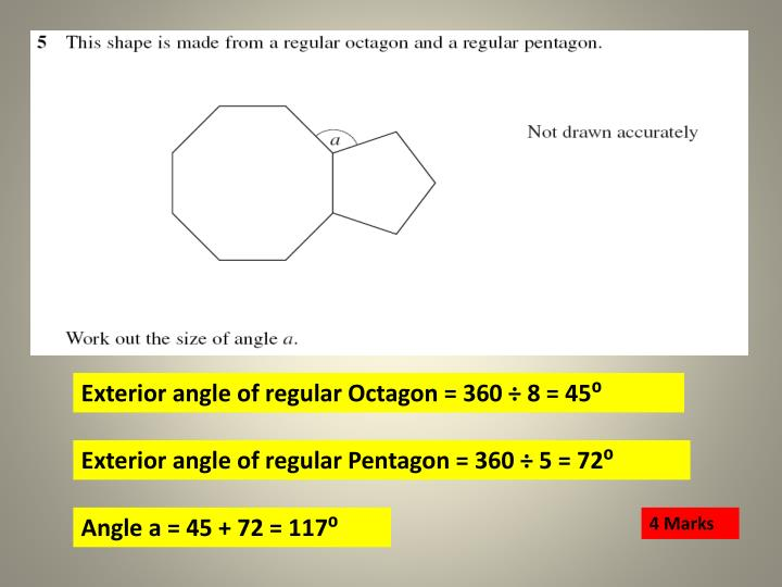 Exterior angle of regular Octagon = 360 ÷ 8 = 45⁰