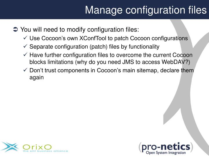 Manage configuration files