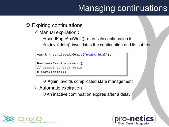 Managing continuations