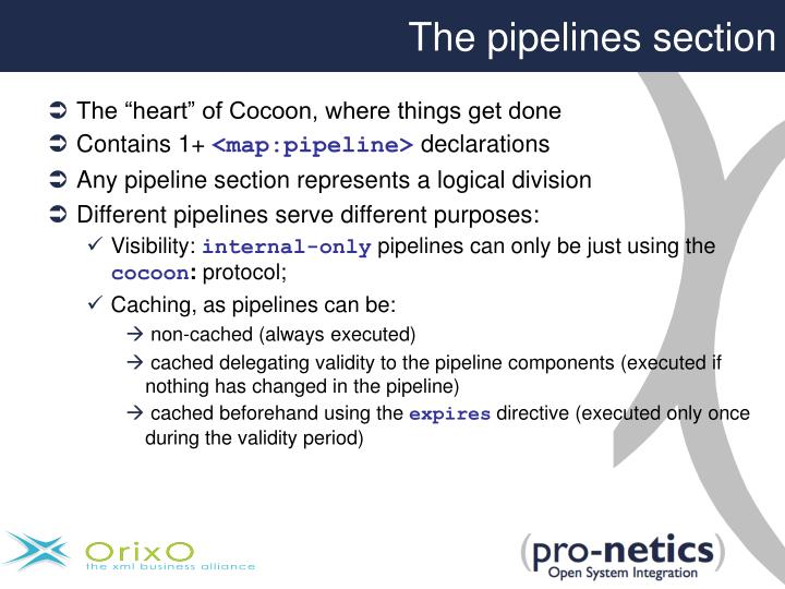 The pipelines section