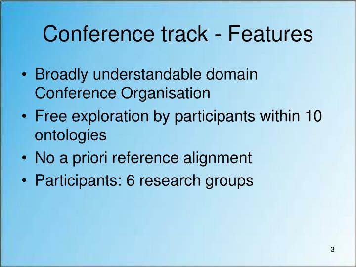 Conference track - Features