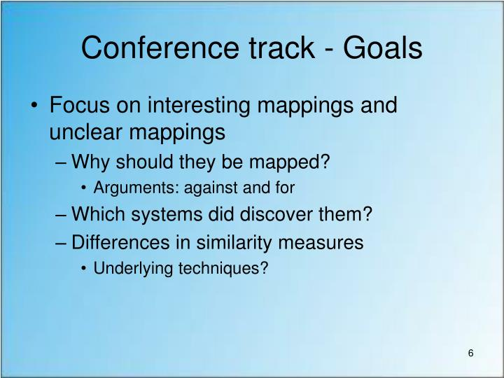 Conference track - Goals