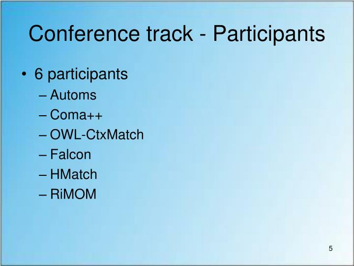 Conference track - Participants