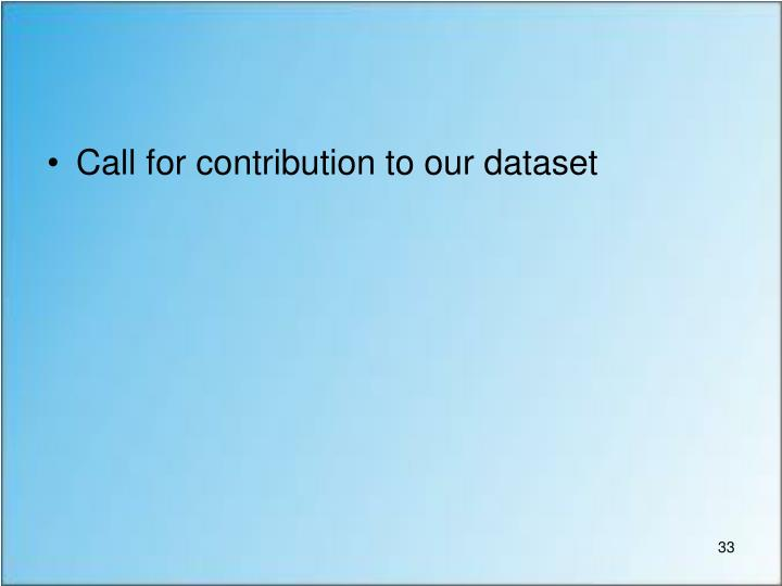 Call for contribution to our dataset