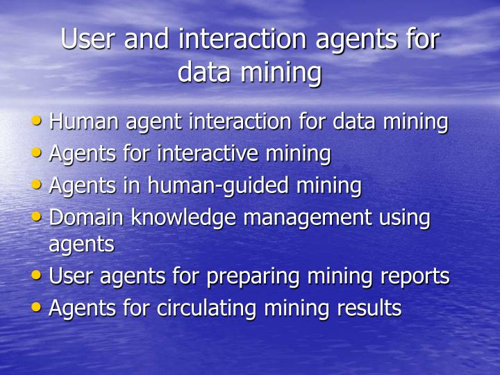 User and interaction agents for data mining