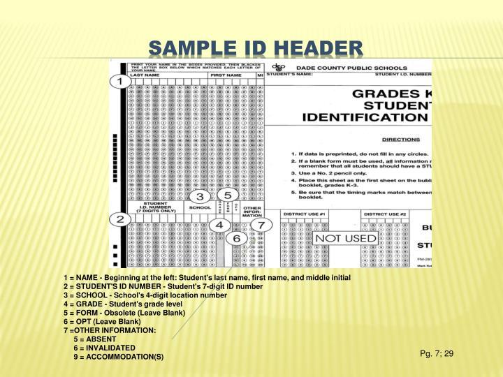 Sample id header