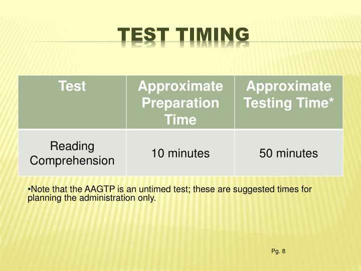 Test timing