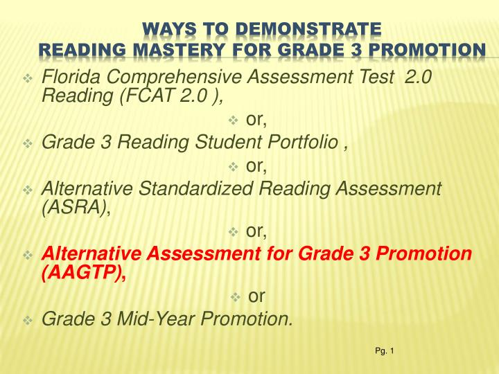 Ways to demonstrate reading mastery for grade 3 promotion