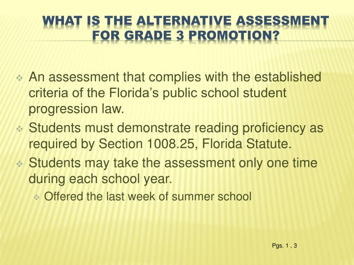 An assessment that complies with the established criteria of the Florida's public school student progression law.