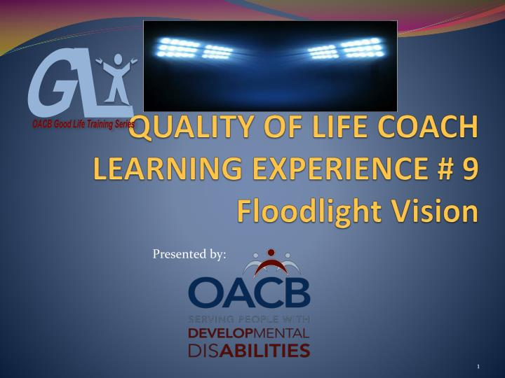 Quality of life coach learning experience 9 floodlight vision