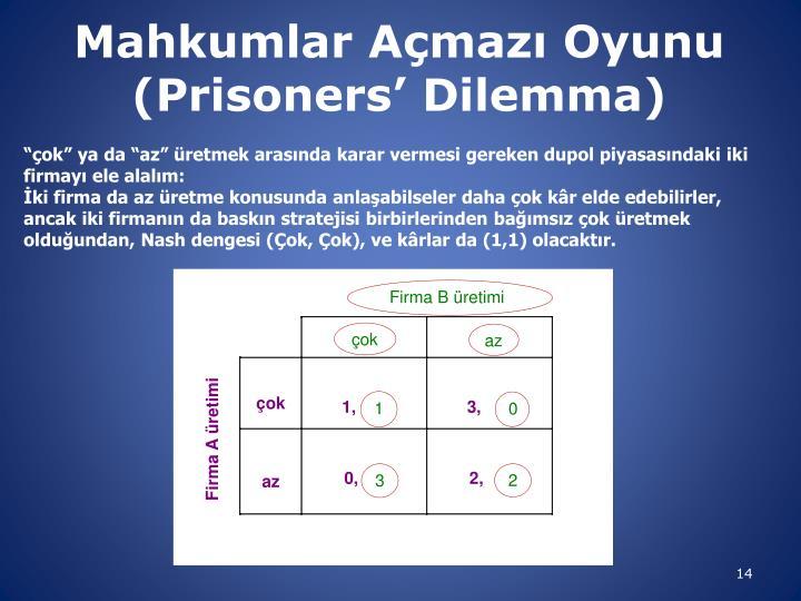 Mahkumlar Açmazı Oyunu (
