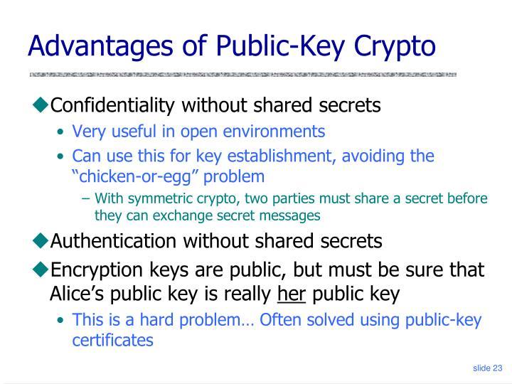 Advantages of Public-Key Crypto