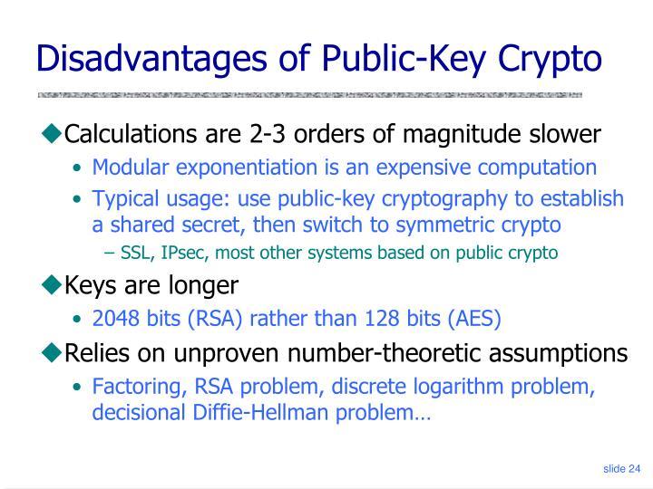 Disadvantages of Public-Key Crypto