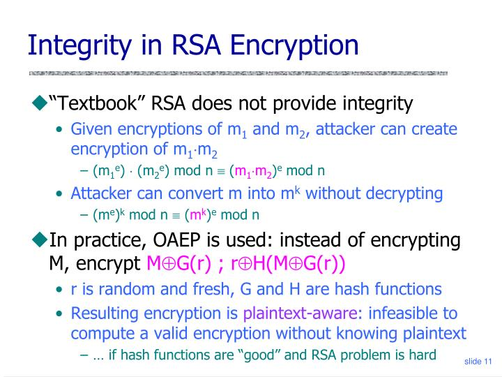 Integrity in RSA Encryption