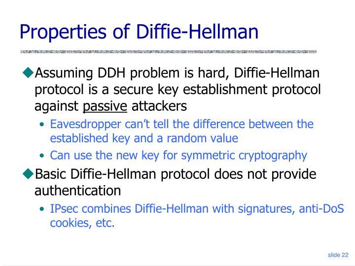 Properties of Diffie-Hellman