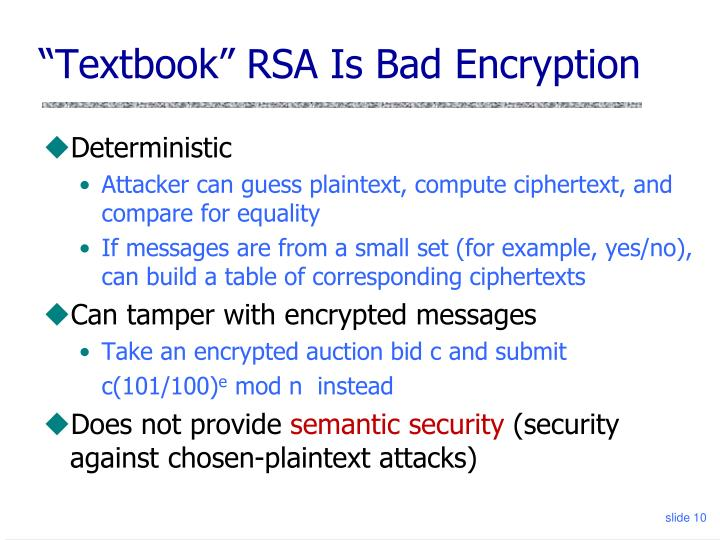 """Textbook"" RSA Is Bad Encryption"