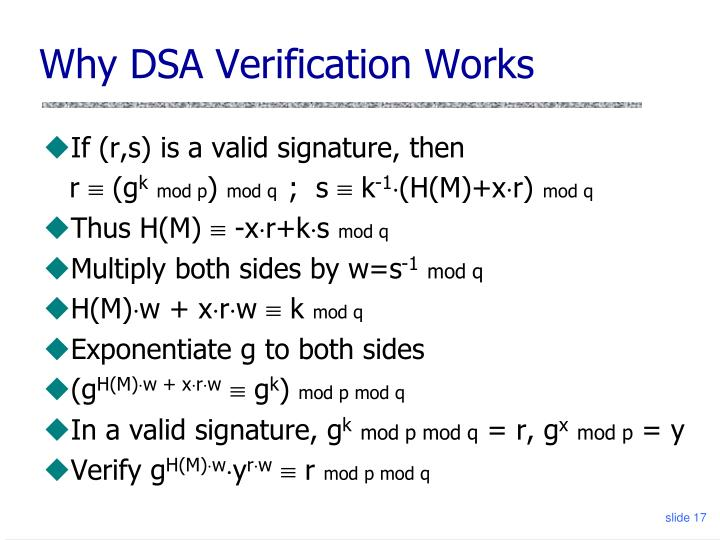 Why DSA Verification Works