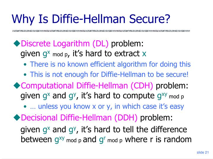 Why Is Diffie-Hellman Secure?