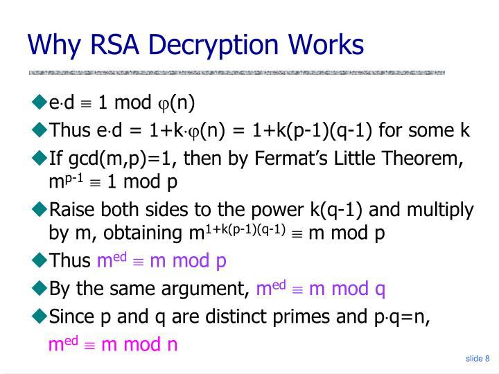 Why RSA Decryption Works