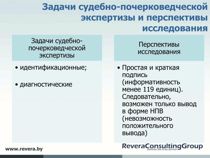 Задачи судебно-почерковедческой экспертизы и перспективы исследования