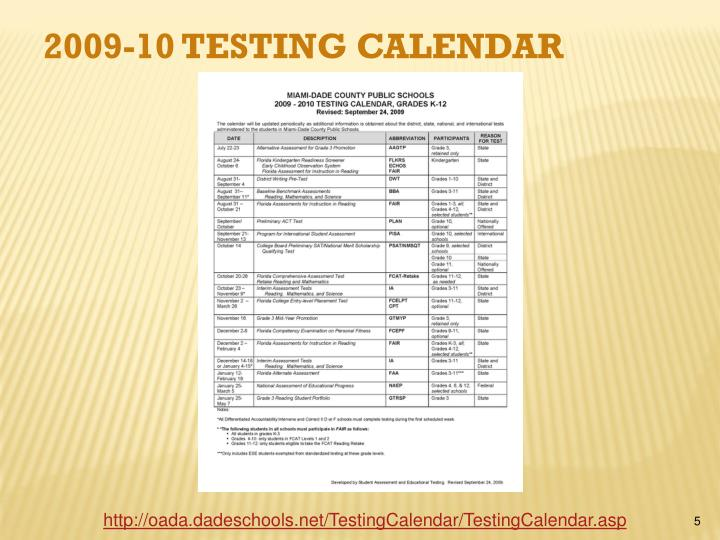 2009-10 Testing Calendar