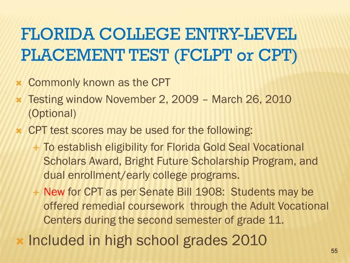 Florida College Entry-level Placement Test (FCLPT