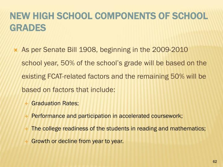 As per Senate Bill 1908, beginning in the 2009-2010 school year, 50% of the school's grade will be based on the existing FCAT-related factors and the remaining 50% will be based on factors that include: