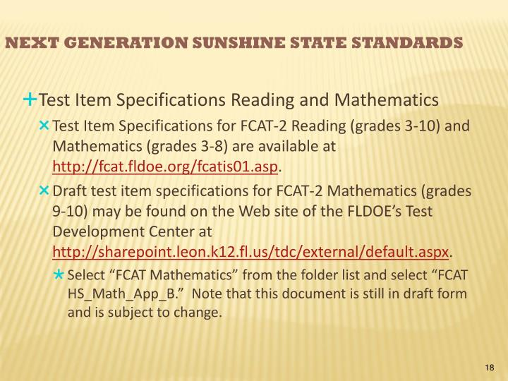Test Item Specifications Reading and Mathematics