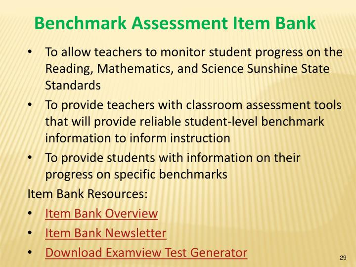 Benchmark Assessment Item Bank
