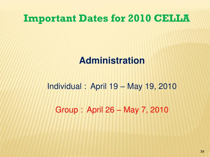 Important Dates for 2010 CELLA